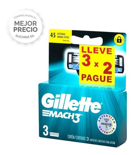 Repuesto Afeitadora Gillette Mach 3 Promo 3x2 Suchina S.a.