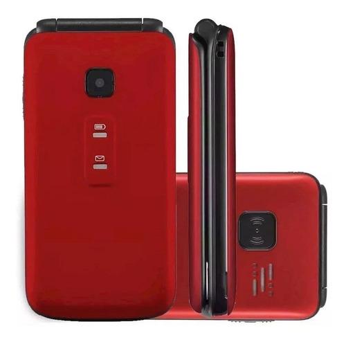 Celular Flip Vita Vermelho Dual Chip Quadriband P9021 2,4''