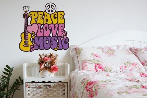 Adesivo De Parede Peace Love And Music - Mudo Minha Casa Original