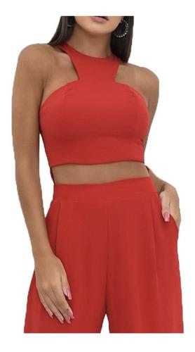 Conjunto Cropped Blusa E Calça Cintura Alta Flare Festa #t15