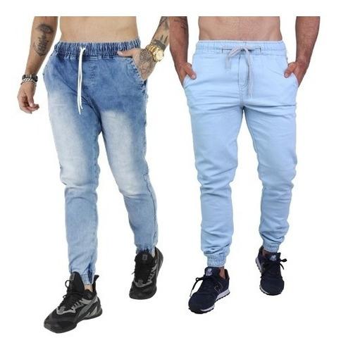 Kit 2 Calça Jeans Masculina Jogger Com Punho 14 Modelos