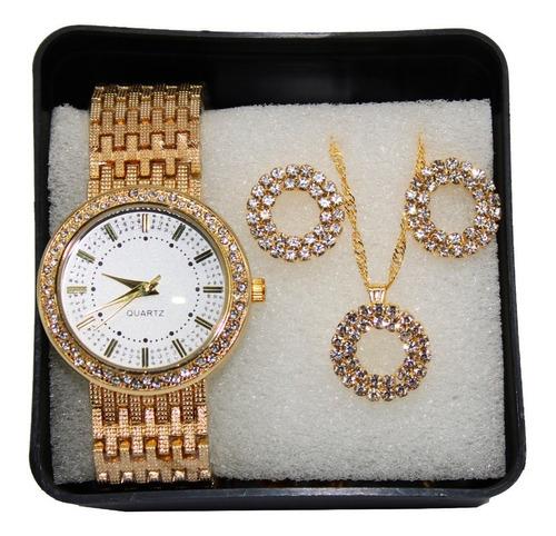 Kit Relógio Fino Dourado Strass + Conjunto Colar E Brinco
