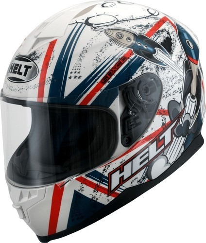 Capacete Helt Fechado New Race Space 967 Vermelho E Branco