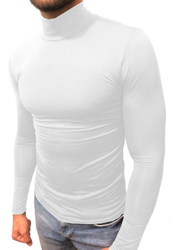 Camisa Masculina Térmica Gola Alta Manga Longa Uv 50