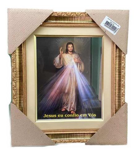 Quadro Jesus Misericordioso Resinado Com Vidro 32x38cm
