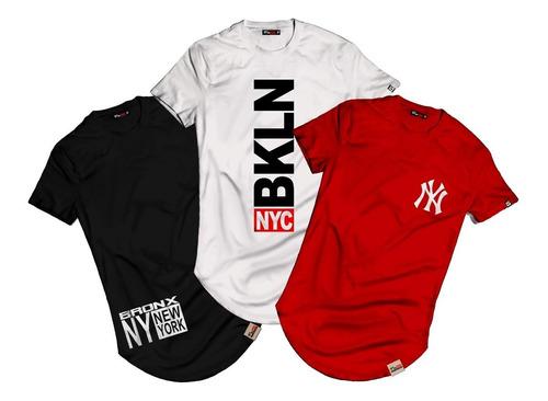 Kit 3 Camiseta Camisa Longline Bronx Ny Bkln Blusa Swag