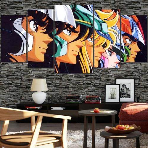 Quadros Decorativo Grupo Cavaleiros Zodíaco 128x60 Lindo N3