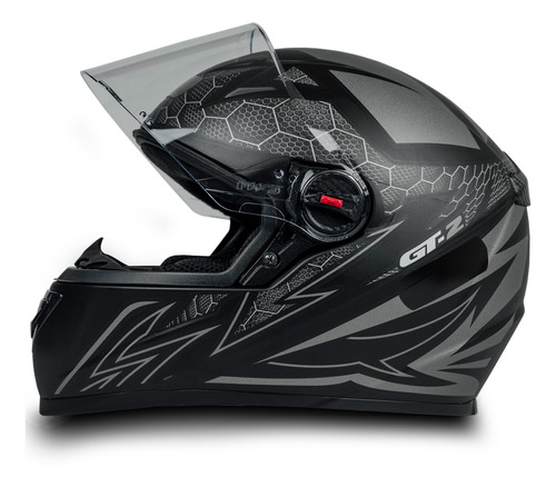 Capacete Fechado Moto Com Narigueira Gt2 Preto Fosco 58