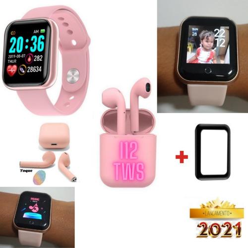 Relógio Smart Watch Y68 Monitor Cardíaco + Fone Sem Fio Rosa