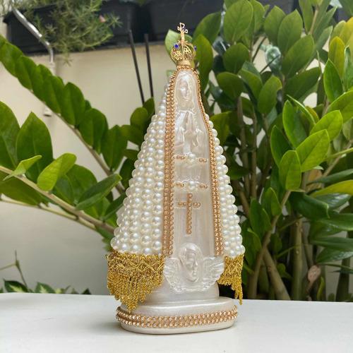 Nossa Senhora Aparecida 20cm Perola Com Coroa Folheada