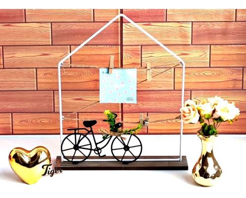 Casinha Porta Retrato Recado Fotos C/ Bike Decorativa Planta