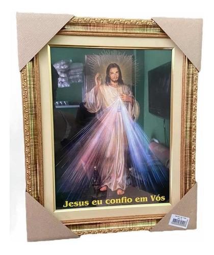 Quadro Jesus Misericordioso Resinado Com Vidro 42x52