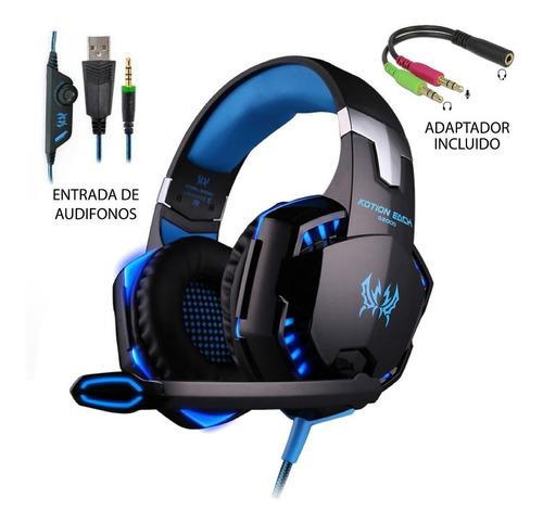 Audífonos Gamer Kotion G2000 Black, Blue Y Led Light