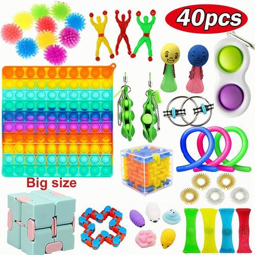Kit Brinquedos Fidget Pop It Arco-íris Pioneer 40 Pçs