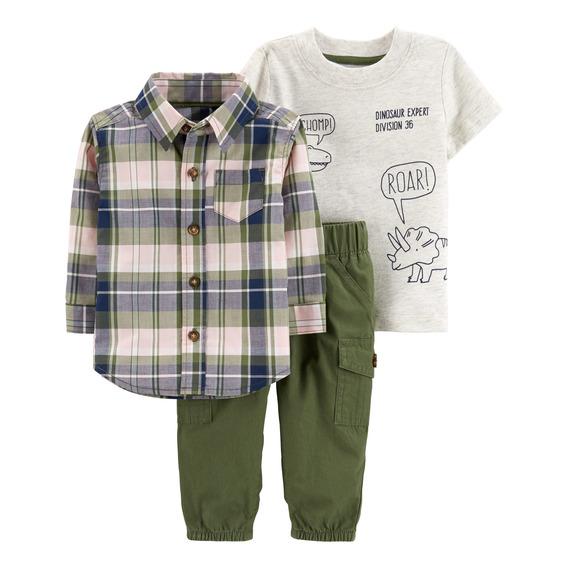 Carters Set 3 P. Camisa, Remera Y Pantalón Bebé Nenes Verde