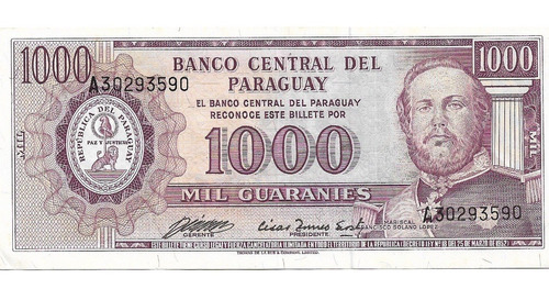 Billete Paraguay 1000 Guaranies 1952 P.207 Exc+