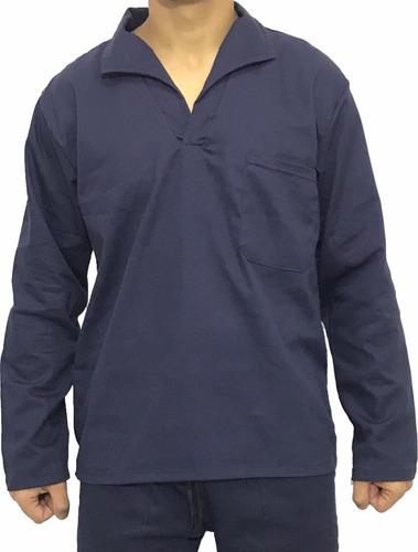 Camisa Brim Manga Longa Jaleco Uniforme Azul Marinho