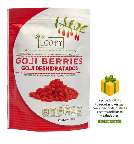 Goji Berries Bayas De Goji Orgánicas Leafy 250g