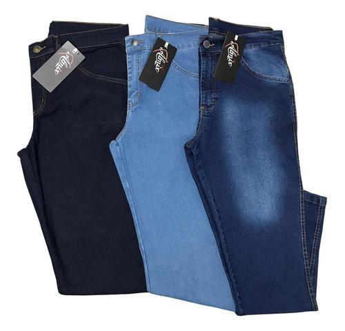 Kit Atacado 3 Calça Jeans Masculina Tradicional  (sortidas)