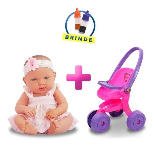 Boneca Tipo Reborn Bebe Recem Nascida Com Carrinho