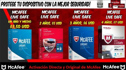 Antivirus Mcafee Live Safe  Para 1 Año Y Medio, 2-3-4años,