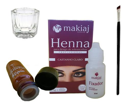 Henna Rena Makiaj Sobrancelha + Pincel Chanfrado + Dappen