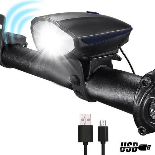 Farol Bike Recarregável Usb Iluminação Noturna Buzina 7588