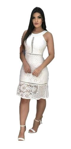Vestido Branco Com Renda Premium Casamento Civil De Noiva