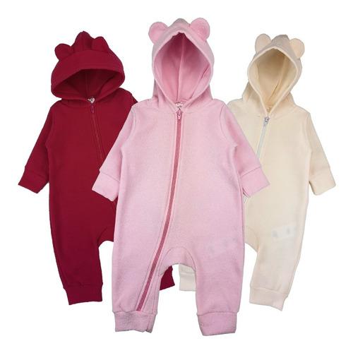3 Macacão Roupa Bebê Inverno Plush Recém Nascido Capuz Zíper