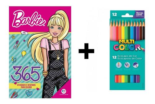 Kit Livro Infantil 365 Atividade Lápis 12cores Multicolor