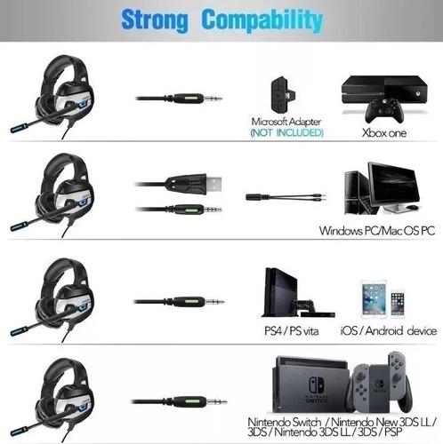 Audifonos Diadema Gamer Ps4 Xbox One S Jakc K5 3.5mm Laptop - Ecart
