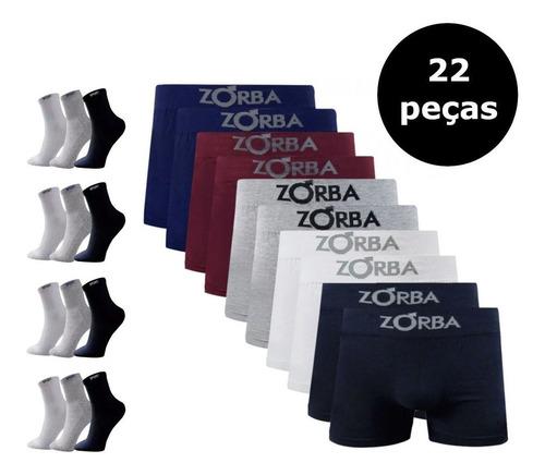 Kit 10 Cuecas Zorba Boxer + 12 Pares De Meias Sport