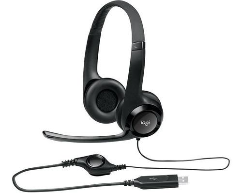 Headset Usb Logitech H390 Voip Microfone Volume Pc Notebook
