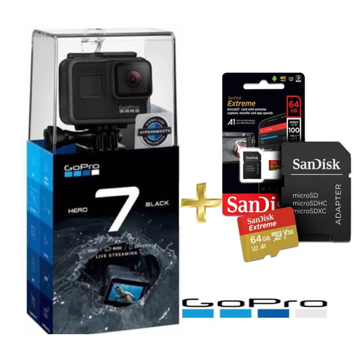 Câmera Gopro Hero7 4k Chdhx-701 Black + Extreme 64gb