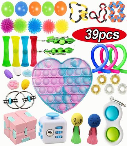 Kit Brinquedos Pop It Fidget Gobang Rainbow Pioneer 39pcs