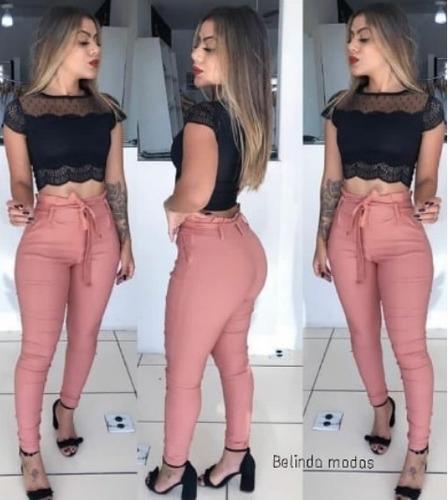 Calça Skinny Clochard Cintura Alta  Com Cinto Laço Linda