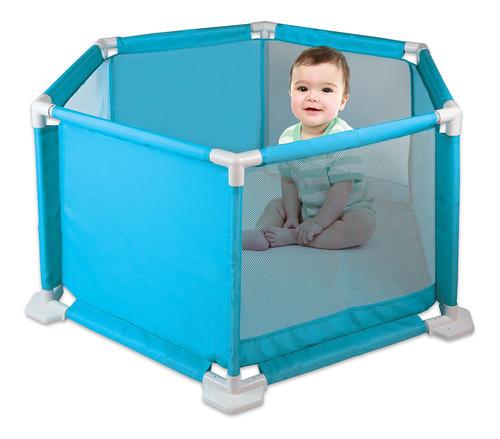 Cercadinho Para Bebê Braskit Rosa E Azul Tapete Eva
