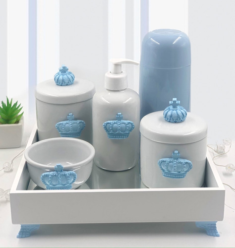 Kit Higiene Porcelana Diversos Temas Garrafa Térmica Azul