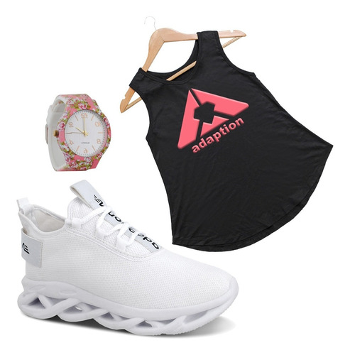 Kit Tênis Feminino Limited+ Camiseta Regata Adaption+relogio