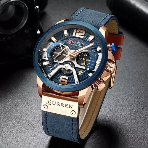Relógio Curren Original, Pulseira De Couro,modelo Cronógrafo