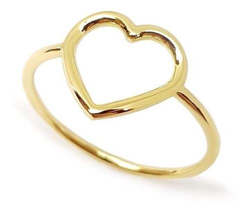 Anel De Coração Vazado Amoeto Banhado Em Ouro 18k
