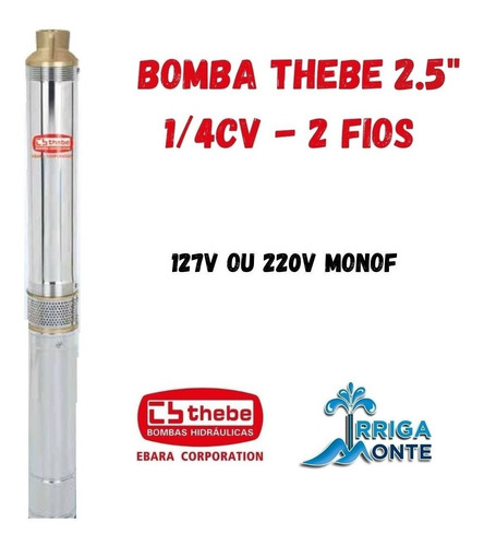 Bomba Submersa Caneta Palito Thebe/ebara 2.5bps2/08 - 1/4cv