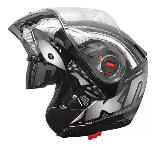 Casco Para Moto Rebatible Okinoi Okn-10  Negro Con Gráfica Negra Talle M