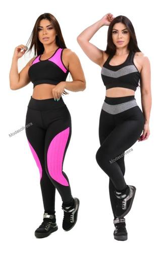 Kit Com 2 Conjuntos De Academia Moda Fitness Animal E Liso