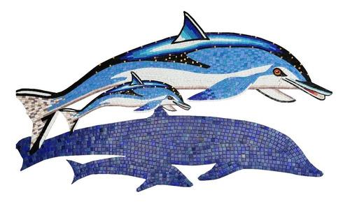 Figura Delfin Moteado Con Bebé 1.25 M. Para Alberca En Mosaico