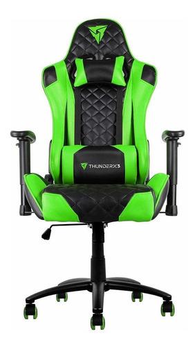Cadeira De Escritório Thunderx3 Tgc12 Gamer Ergonômica  Black E Green Con Estofado Do Couro Sintético