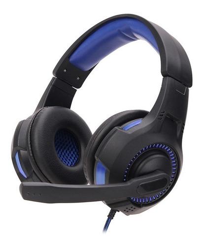 Fone De Ouvido Gamer Preto Azul Headset  Pc Notebook