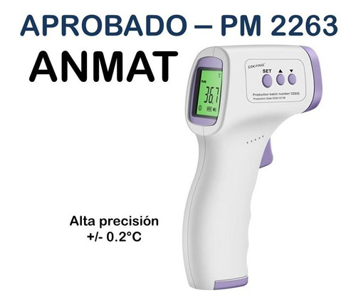 Termómetro Infrarrojo Digital Láser Certificado Anmat