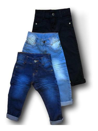 Combo 3 Calça Jeans Infantil Meninos 1 A 8 Anos