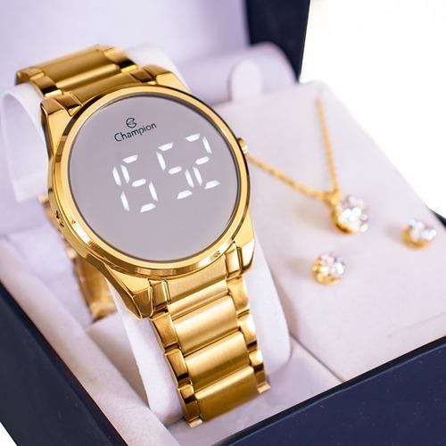 Relógio Feminino Champion Digital Espelhado Dourado Ou Rose